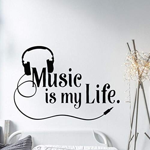 Qbbes music wall decal la musica È la mia vita applique da parete in vinile adesivi per ragazzi ragazzo stanza rock musica parete pittura decorazione della casa 40x57 cm