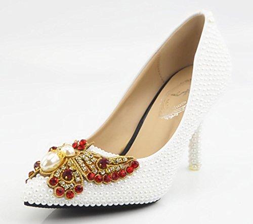 XDGG Frauen Brautschuhe handgemachte Kristallschuhe Perlen-Schmetterlings-Diamant-Blumen hoch -...