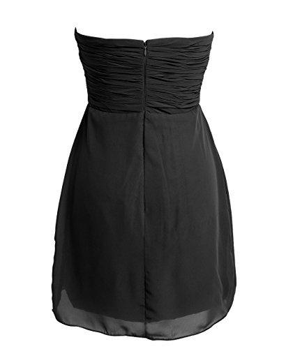 FAIRY COUPLE - Robe de Soirée en Mousseline Sans Bretelles Bustier Formel Avec Crystal - MultiColeurs et Multitailles Noir