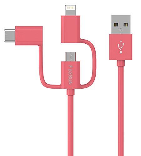 3 en 1 Cable Usb [Apple MFi Certificado], 3.3 pies/1m FOXSUN 3 en 1 Multi Cable iPhone & Micro USb & Tipo C Cable Carga y Sincronización para iPhone 7 / 7s / 6s / 5s / 5c / 5 más, iPad / iPod, Samsung Galaxy, Huawei, HTC, Sony, y más USB C dispositivos   Rosado