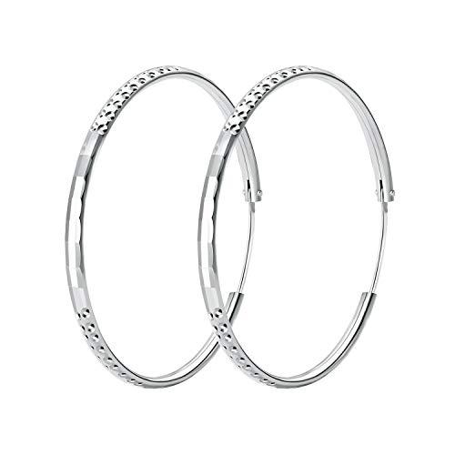 T400 Creolen Silber 925 Ohrringe Damen Groß Runde Kreolen Ohrschmuck für Frauen Freundin Mädchen,Durchmesse:25 35 45 55 65 mm - Große Schmuck