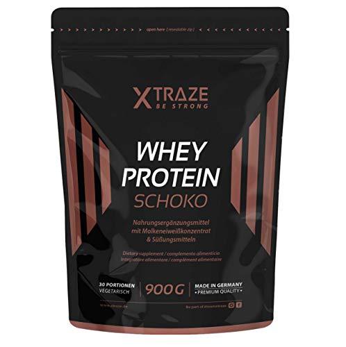 Whey Protein Pulver für Eiweiß-Shakes 900 g Molkenprotein-Konzentrat + Isolat mit BCAA - Qualität aus Deutschland - ohne Zusatzstoffe - für Kraftsport | Bodybuilding | Fitness (1 Beutel Schoko)