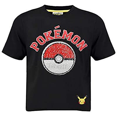 Pokèmon Camiseta Pikachu | Camiseta Lentejuelas Reversibles para Niños | Top De Algodón Negro con Motivo De Lentejuelas Inversas (11/12 años)
