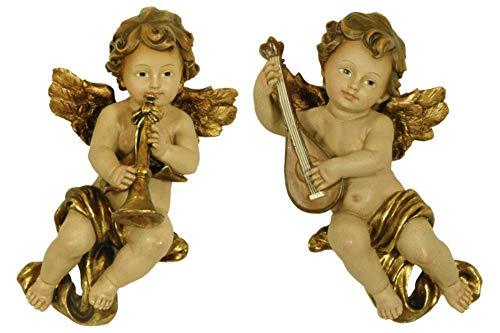 CAPRILO 2 Figuras Decorativas Religiosas Pared Ángeles con Instrumentos. 14 x 11 x 23 cm