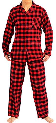 Nordy Flanell-Pyjama für Herren, Oberteil und Hose, weich, strapazierfähig, gebürstete Baumwolle - Rot - Small -