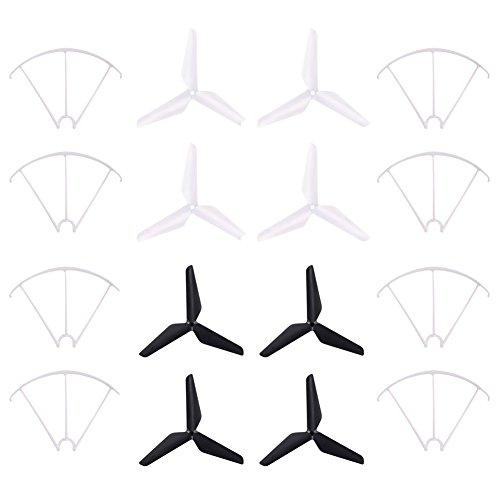 Propeller Propeller und Prop Wächter, TechCode 3-Blatt 3-Blatt Upgrade Propeller & Prop Schutz für Syma X5C-1 X5A X5C X5S X5SC X5W X5SW JJRC H5C Skytech M68R Quadcopter (Weiß und Schwarz)