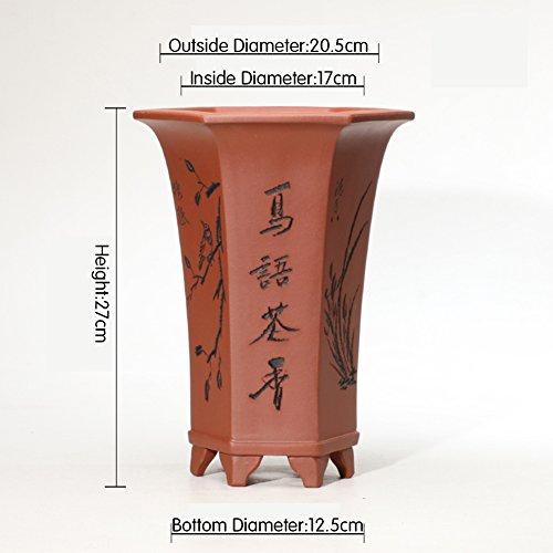 flower pot Nclon Style Chinois Fleur Pots Indoor Décoration,Revêtement Céramique Les Orchidées Pot De Fleur Chlorophytum Plante Verte Table Carré Bonsaï-g
