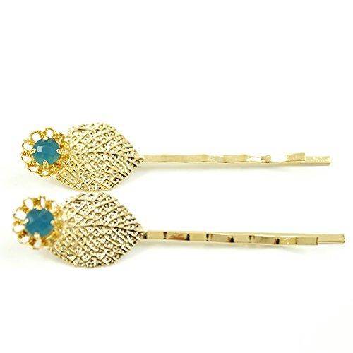 rougecaramel - Accessoires cheveux - Mini pince fantaisie métal doré forme feuille 2pcs - bleu canard