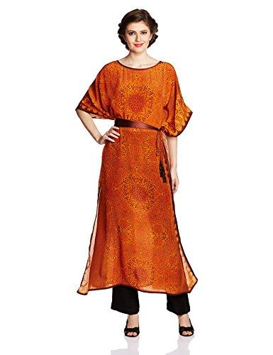Tarun Tahiliani Designer Women's Kaftan (MF-KF-1_Orange_Medium)