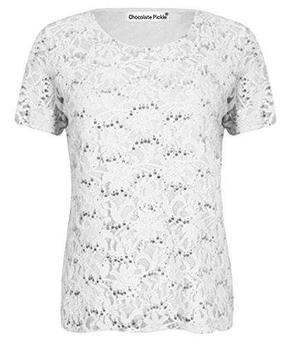 Mesdames nouvelle Sequin Lace doublé Cap manches Floral Lace Tunique Tops 40-54 white