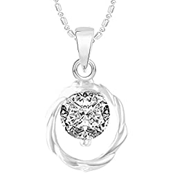 VK Jewels Single Stone Solitaire Rhodium Plated Alloy CZ American Diamond Pendant With Chain for Women [VKP2494R]