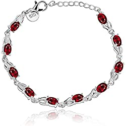 Wearyourfashion Red 925 Silver Plated Cubic Zircone Diamond Bracelet for Women