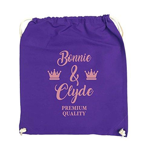 Comedy Bags - Bonnie & Clyde - PREMIUM MOTIV - Turnbeutel - 37x46cm - Farbe: Schwarz / Pink Lila / Rosa