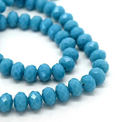 FACETED RONDELLE CRYSTAL GLASS BEADS PICK OPAQUE COLOUR & SIZE - BY STAR BEADS (Opaque Turquoise, 8x6mm