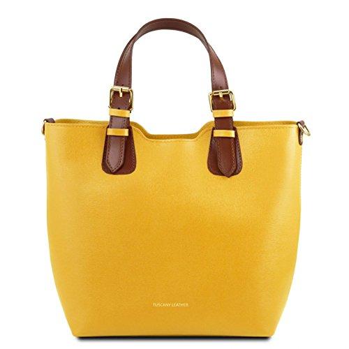 Tuscany Leather TL Bag Borsa a mano in pelle Saffiano - TL141696 (Giallo) Giallo