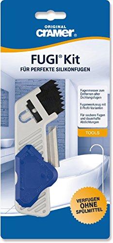Cramer 66146 1 Fugi Kit mit Fugenmesserwerkzeug und 8 Profil-Varianten, Silikonfugen, 1 Stück, Fugenmesser
