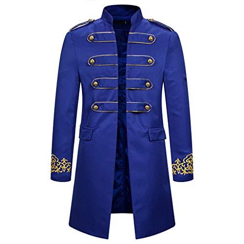 AmyGline Steampunk Herren Mantel Vintage Frack Jacke Gothic Smocking Gehrock Stehkragen Anzug Abendkleid Uniform Gestickter Knopf Mäntel Cosplay Kostüm -
