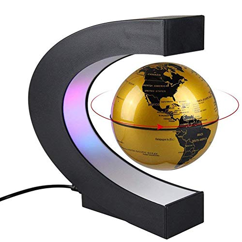 SDlight Magnetschwebebahn Globus Mit LED-Leuchten, Rotation Maglev Globe, C-Form Magnetic Suspension Globe, Kind-Geschenk, Büro Study Tischdekoration,Gold