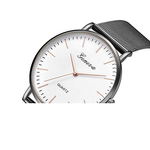 Damen Classic Edelstahl Quartz Armbanduhren Mode Elegant Damenuhren Casual Wasserdicht Quartz Uhren Multi Dial Quartz Uhr Dainty mit Mesh Edelstahl Armband