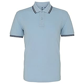 Asquith Fox Men's Classic Fit Tipped Polo Shirt, Multicolour (Sky/Navy 000), Medium (Size:Medium)
