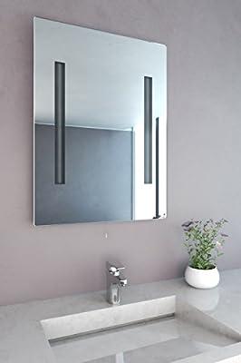 NEG Badspiegel LUMI-0600 60x80cm (BxH) Spiegel mit integrierter und energiesparender Beleuchtung (2x13W T5-Röhre) warmweiß 2700 Kelvin von Neg - Spiegel Online Shop
