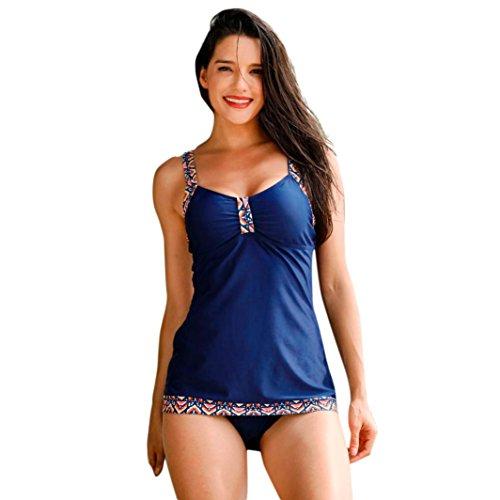 Hevoiok Reizvolle Drucken Bikini Set Kostüme Zweiteilig Push-Up Gepolsterter BH Sets Neue Mode Damen Sexy Mittlere Taille Strand Bademode Badeanzug (Blau, L) (Bademode Neue Bottoms Bikini)