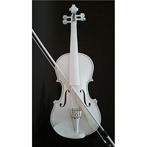 Student Akustische Violine Full 4/4Fichte aus Ahorn mit Fall Schleife Kolophonium ganze weiß - 4 3 Geige Saitenhalter