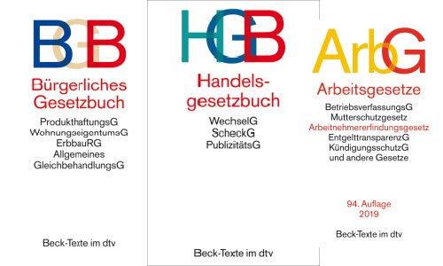 Bürgerliches Recht, Handelsrecht und Arbeitsrecht Gesetzestexte im Set als Prüfungsset (BGB+HGB+ArbG neue Versionen)
