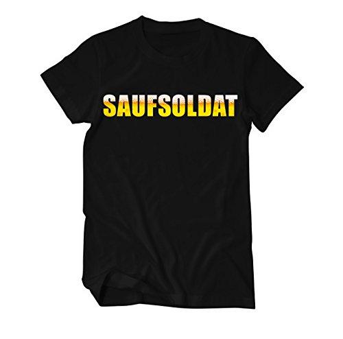 Saufsoldat Bier Suff Männertag Fun T-Shirt Herren Schwarz