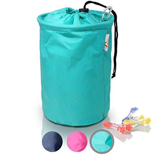 Amazy XXL Wäscheklammerbeutel – Extra-robuster Klammerbeutel mit Karabinerhaken zur Aufbewahrung von bis zu 200 Wäscheklammern für drinnen und draußen (Mint   30 x 20 cm)
