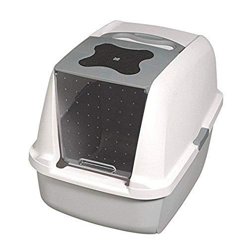 Catit Katzentoilette mit Abdeckung, weiß/grau -