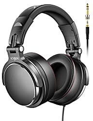 DJ Kopfhörer Over Ear Headset, Vogek Studiokopfhörer Adapter-frei Geschlossener Headphone 6,35mm & 3,5 mm professionelle DJ-Kopfhörer für E-Drum Piano Gitarre AMP Recording und Monitoring
