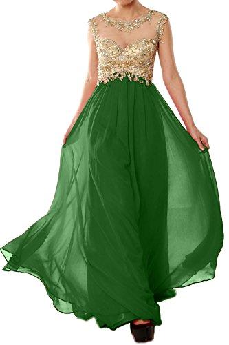 MACloth Women Cap Sleeve Gold Lace Chiffon Long Prom Dress Evening Formal Gown Dunkelgrun