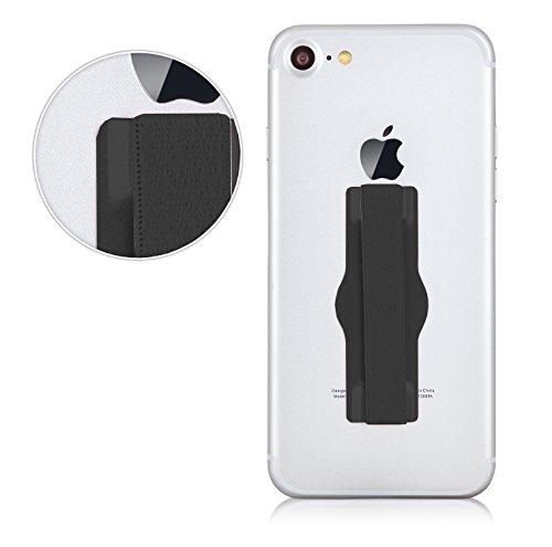 MyGadget Fingerhalterung Smartphone Griff - Aluminium Handy Grip Finger Halter u.a. für Apple iPhone X, 8, 7, 6 Plus, Samsung Galaxy S8, S7 Edge - Schwarz