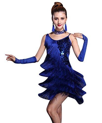 Tanzsport Standard Kostüm - NiSeng Damen Latin Kleid Paillette Quasten Kleid Latin-Tanzkleidung Kostüme L Saphir