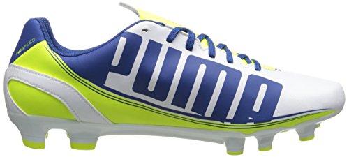 Puma Evo Speed â??â??5.3 sol ferme Chaussures de football White/Snorkel Blue/Fluorescent Yellow