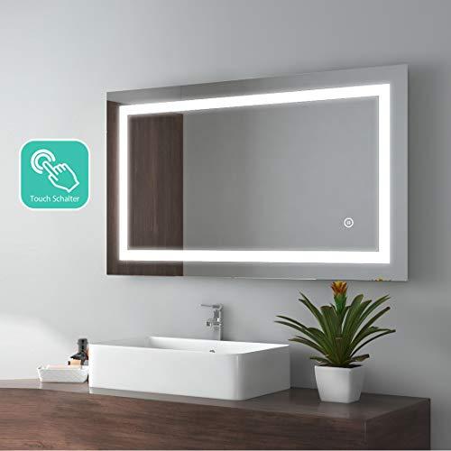 EMKE Espejo de Baño Espejo de baño Espejo LED Espejo de Pared con Interruptor Táctil+Dos Maneras...