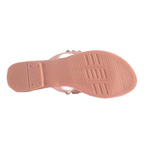 Tong rose à clous dorés type sandale femme à clous- Rose
