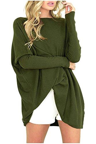 Beaii Damen Casual Lose Pullover Fledermaus Langarm Rundhals Sweatshirt Oversized Oberteil Tunika Tops (Pullover Tunika Damen)