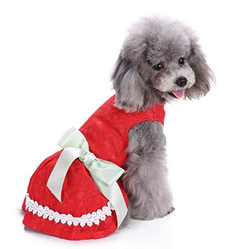 Jamisonme Hund Kleider für Kleine mittlere große Hunde Mädchen Sommer Hund Rock Lady Hund Kleid Floral Rock Hund Prinzessin Bogen Kleid von Sommer (rote ()