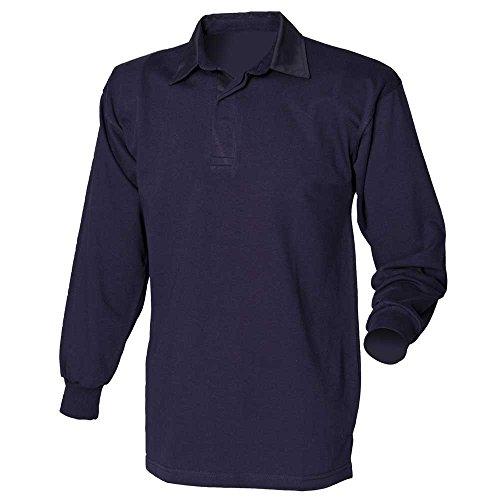 Front Row Herren Rugby-Shirt, langärmelig, aus Baumwolle, klassisch Navy/Navy
