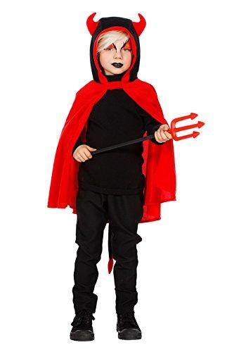 Jannes - Kostüm Teufel Kinder Schwarz mit Hörnern 140
