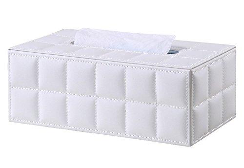 Da.Wa 1 Stück Rechteckiges Leder Tissue Box Tissue Halter für Haus, Büro, Auto Automotive Dekoration, Weiß