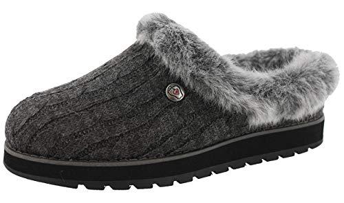 Skechers Damen Keepsakes - Ice Angel Flache Hausschuhe, ((Charcoal Cable Knit Sweater/Faux Fur Trim Ccl), 8 EU - Skechers Damen Mit Kunstfell