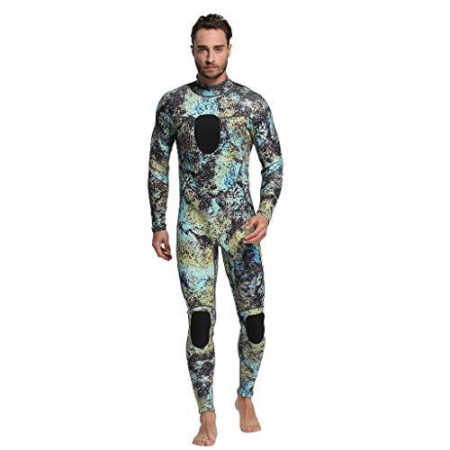 LOPILY Herren Mode Neoprenanzug Surfbekleidung 3MM Ganzkörperanzug Schwimmanzug Tauchanzug Schwimmen Surfen Tauchen Sport Badeanzug Wetsuit Schnelltrocknend(Grün,2XL)