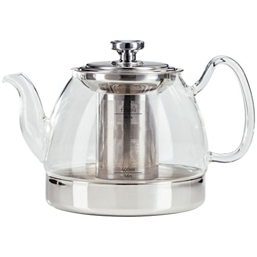 Judge Stove Top Glass Teapot, Silver, 1.2 Litre