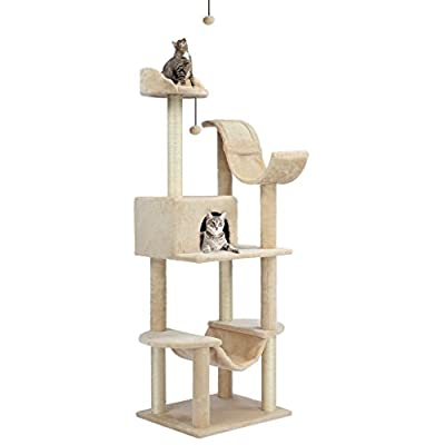 """Finether 60.6"""" High 5-Tier Cat Tree Tower Furniture Kitten Playhouse with Sisal Covered Scratching Posts, Hammock, Perches. Platform and Dangling Ball"""