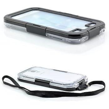 Saxonia Wasserdichte Schutzhülle für Samsung Galaxy S4 Hülle Waterproof Case Outdoor Transparent-Schwarz