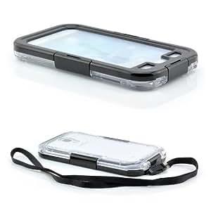 Saxonia Coque étanche pour Samsung Galaxy S4 GT-i9500 GT-i9505 LTE Submersible IPX8 jusqu'à 6 m Plastique et silicone Transparent/noir