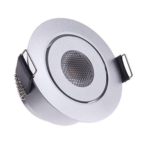 Sensati Kleine flache Miniatur LED Einbauleuchte flacher Downlight Spot schwenkbar, dimmbar, 210 lm, inklusive Treiber, Gehäusefarbe silber, kaltweiß T096 1 CW S -